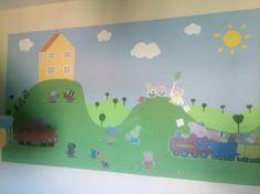 Hand painted peppa pig wall