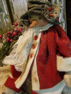 PRIMITIVE SNOWMAN DOLL OLD WOOL OLD BUTTONS CHRISTMAS FOLK ART SNOWMAN DOLL #NaivePrimitive