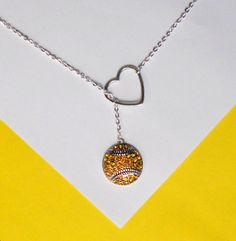 """Softball Necklace with Rhinestones and Heart and number, handmade jewelry. Add varsity # and add 4"""" in length."""