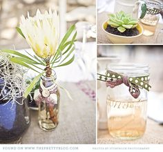 Succulents and Proteas in glass jars and pots with ribbon
