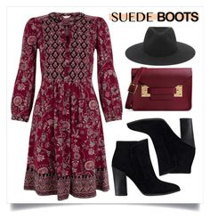 """Style Staple: Suede Boots"" by alaria ❤ liked on Polyvore featuring GUESS, Monsoon, rag & bone and Sophie Hulme"
