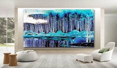 Blue  art canvas limited eition 22x48 other by stagetoselltoday