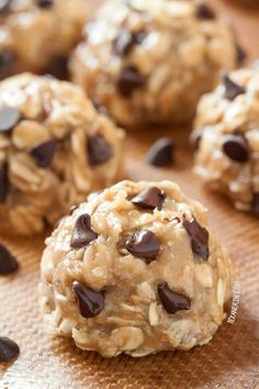 No-bake Peanut Butter Chocolate Chip Cookies {naturally vegan, gluten-free, dairy-free, maple sweetened, and 100% whole grain}