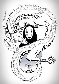 Studio ghibli 💜 Haku e no face Tatuaje Studio Ghibli, Art Studio Ghibli, Studio Ghibli Tattoo, Studio Ghibli Movies, Totoro, Anime Kunst, Anime Art, Spirited Away Tattoo, Spirited Away Dragon