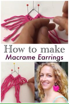 Macrame Earrings Tutorial, Earring Tutorial, Diy Earrings, Macrame Design, Macrame Art, Macrame Knots, Craft Tutorials, Sewing Tutorials, Video Tutorials