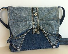 Recycled clothing , small denim messenger bag , one of a kind recycled jean cross body bag