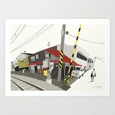Houses Beside Tracks, Nagano Art Print by Ryo Takemasa