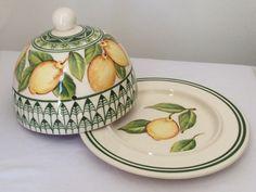 linda queijeira limões, feita em cerâmica e pintada a mão