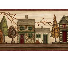Interior Place - Burgundy and Beige Lodge Houses Wallpaper Border, $12.99…