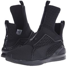PUMA Fenty Trainer (Black/Black) Women's Shoes featuring polyvore women's fashion shoes athletic shoes sneakers breathable shoes breathable mesh shoes black slip-on shoes slip on athletic shoes black training shoes