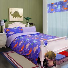 Blue Cool Dinosaur Cotton Bedding Set For Children The Good Dinosaur, Cute Dinosaur, Cotton Bedding Sets, Linen Bedding, Dinosaur Bedding, My First Apartment, Luxury Bedding Collections, Boy Room, Duvet Cover Sets
