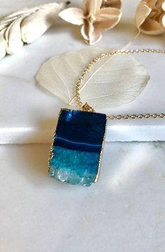 Teal Blue Druzy Necklace