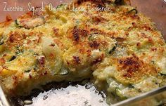 ZUCCHINI CASSEROLE  <3 If you are not FOLLOWING ME already -- WHY NOT??!! lol Make sure you click FOLLOW at the top of my page!  <3  ...INGREDIENTS 2 cups croutons 1/2 cup water... 1 can cream of mushroom soup (or cream of chicken) 1/2 cup sour cream 2 medium zucchini, rough diced approx 6 to 8 cups 1 cup sliced mushrooms 1/4 cup shredded carrot 2/3 cup shredded Cheddar cheese salt & pepper to taste  ...DIRECTIONS Preheat oven to 350 degrees F. ..Mix croutons & water to make a stuffing…