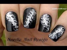 Black & White NEEDLE NAIL ART - DIY Easy Monochrome Nails - YouTube