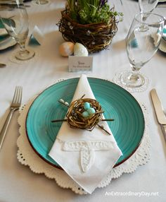 Handmade Birds Nests Themed Easter Table Dressed up with Eyelet Lace | AnExtraordinaryDay.net