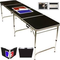 Sports Official Beer Pong Table, 8' with Bottle Opener, Ball Rack, and 6 Pong Balls!