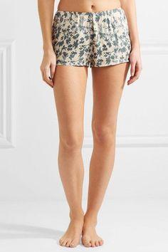 Love Stories - Blush Printed Satin Pajama Shorts - Blue - x large
