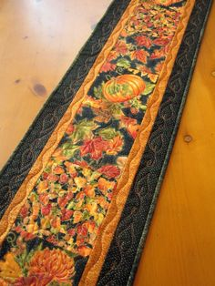 Quilted Table Runner Fall Colors Autumn Pumpkins and Leaves Table Decor patchworkmountain.com