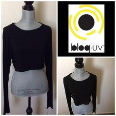Black Crop Top 93% micro modal, 7% spandex.  Long sleeve with thumb hole.  Will also fit a large.  Machine wash. Tops Crop Tops