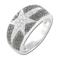 0.66 Carat Black Diamond 14K White Gold Women Rings 4.85g: Ring Size: 7 (Sizable)