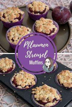 Muffins mit Pflaumen Zimt und Streuseln einfach backen Cupcakes vegetarisch