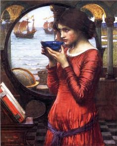 "Destiny - John William Waterhouse, c.1900, 048/107.  So funny I found this on Pintrest and Its called Destiny. My kids used to call this ""Mommy"" It always hangs over the nearest wall overlooking the water in my home..."
