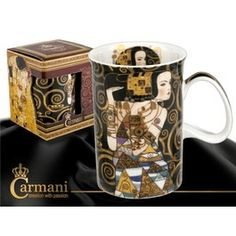 Hrnček Classic Gustav Klimt l Očakávanie Gustav Klimt, Bone China, Mugs, Tableware, Classic, Gifts, Gift Shops, Umbrellas, Modern Art