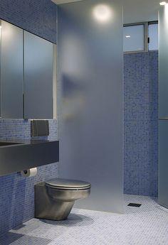 Frosted glass for privacy in the bathroom | Verre acide pour section privé dans votre Salle de bain