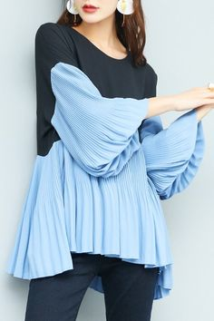 Lilith A Paris Blue/black Color Block Pleated Chiffon Blouse | Blouses at DEZZAL Click on picture to purchase!