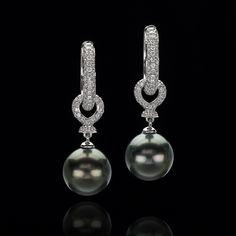 TAHITIAN BLACK PEARL AND DIAMOND EARRINGS