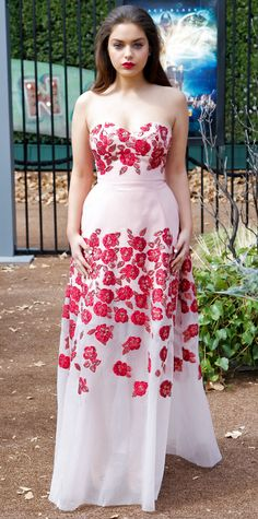 Look of the Day - Odeya Rush  - from InStyle.com Odeya Rush graced the premiere of Goosebumps in a sweeping strapless blush-and-red rose-strewn Lela Rose gown.