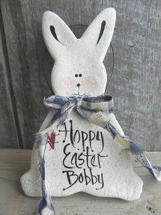 Primitive Easter Bunny Salt Dough Ornament by cookiedoughcreations, $5.95
