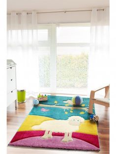 Kid's rug Owl and Sheep Multicolour