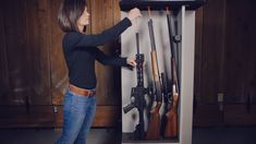 Organize and condense long guns into a smaller space in your gun safe and access them easier than ever with Rifle Rods. Hidden Gun Storage, Weapon Storage, Gun Safe Accessories, Gun Closet, Gun Rooms, Tactical Equipment, Home Defense, Military Guns, Cool Guns