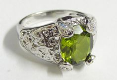 .925 Sterling Silver & Lab Spinel Ring Size 6 or 8. Stunning!