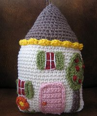 Which one of my awesome friends will crochet this for me?! ...Happy house pillow