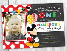 Mickey Mouse Birthday Invitation, Mickey Mouse Clubhouse Birthday Party Invites, Mickey First Birthday Party