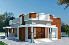 Modern Small House Design, House Front Design, 2 Bedroom House Design, House Elevation, Front Elevation, Pillar Design, Modern House Facades, Dream House Interior, 3d Home