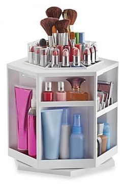 Qvc Makeup Organizer New Tabletop Spinning Cosmetic Organizerlori Greiner  Qvc Design Ideas