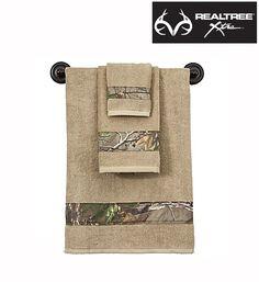 #NEW #RealtreeXtra Camo Bath Towels - Starting at $4.99 Camouflage, Camo Bathroom, Bathroom Ideas, Camo Home Decor, Camo Rooms, Bass Pro Shop, Textiles, Bath Towels, Bathroom Towels
