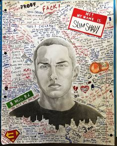 Eminem Funny, Eminem Lyrics, Eminem Quotes, Sick Drawings, Easy Drawings, Bruce Lee, Eminem Drawing, Eminem Tattoo, Bob Marley