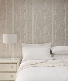A relaxed retreat... Laura Ashley Cottonwood wallpaper.