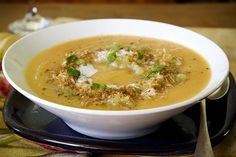 Kumara, lentil and coconut soup