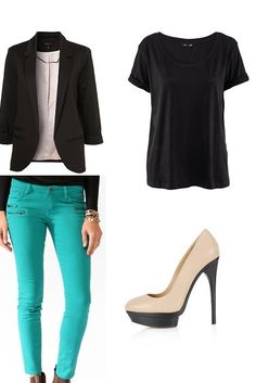 Casual Style 2013. I love this outfit! I like how the black t shirt and blazer is brightened up with the lovely turquoise jeans.   BLAZER – Topshop – £40  T SHIRT – H&M – £7.99  JEANS – Forever21 – £19.75  HEELS – Topshop – £55