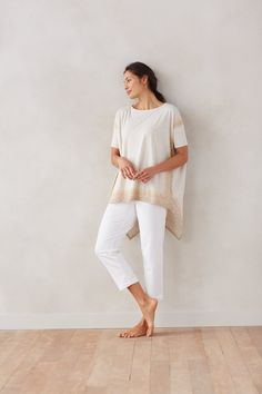 Pure Jill tapestry-border swing tee with the Pure Jill slim crops