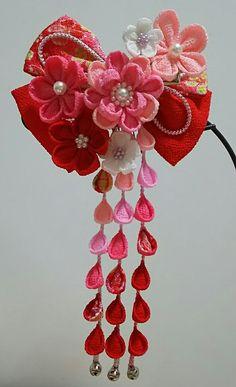 七五三✾つまみ細工のリボン髪飾り(桃)