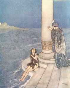 The Little Mermaid  by Edmund Dulac; From:    Andersen, Hans Christian. The Snow Queen and Other Stories from Hans Andersen. Edmund Dulac, illustrator. London: Hodder  Stoughton 1911.