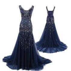 Navy Blue Prom Dresses,V neckline Prom Dress,Sexy Prom