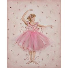 Renditions by Reesa   Tutu Ballerina Hand Painted Stretched Canvas Art