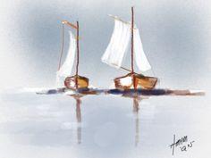 Sailboat - watercolor, amenimario, amenicanvas, paints,